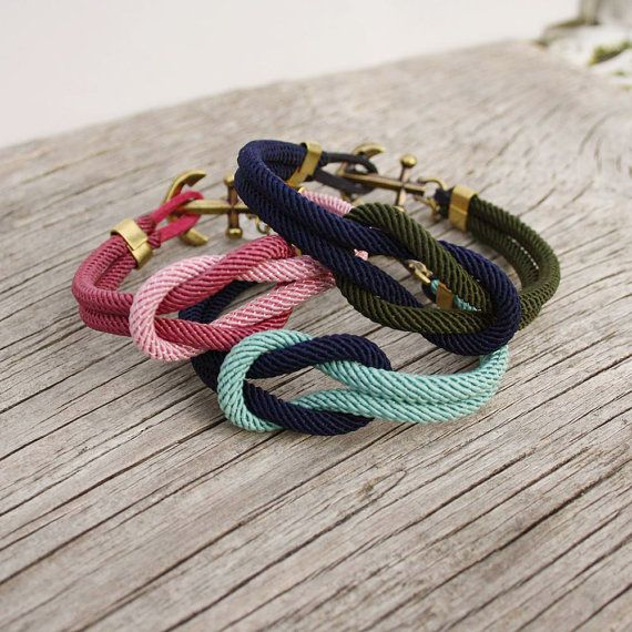 Nautical Square Knot Bracelet with anchor, by Maris Sal on Etsy, $28.00