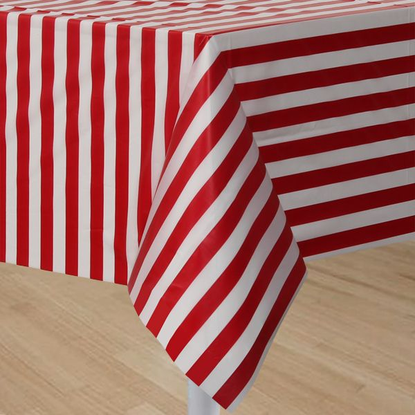 Circus Time Red U0026 White Striped Plastic Tablecloth Table Cover Party  Supplies