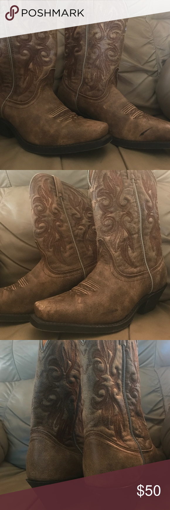 Ladies size 9m cowboy boots These have been worn a couple of times and have a few scuffs. They are by Laredo brand Laredo Shoes Heeled Boots