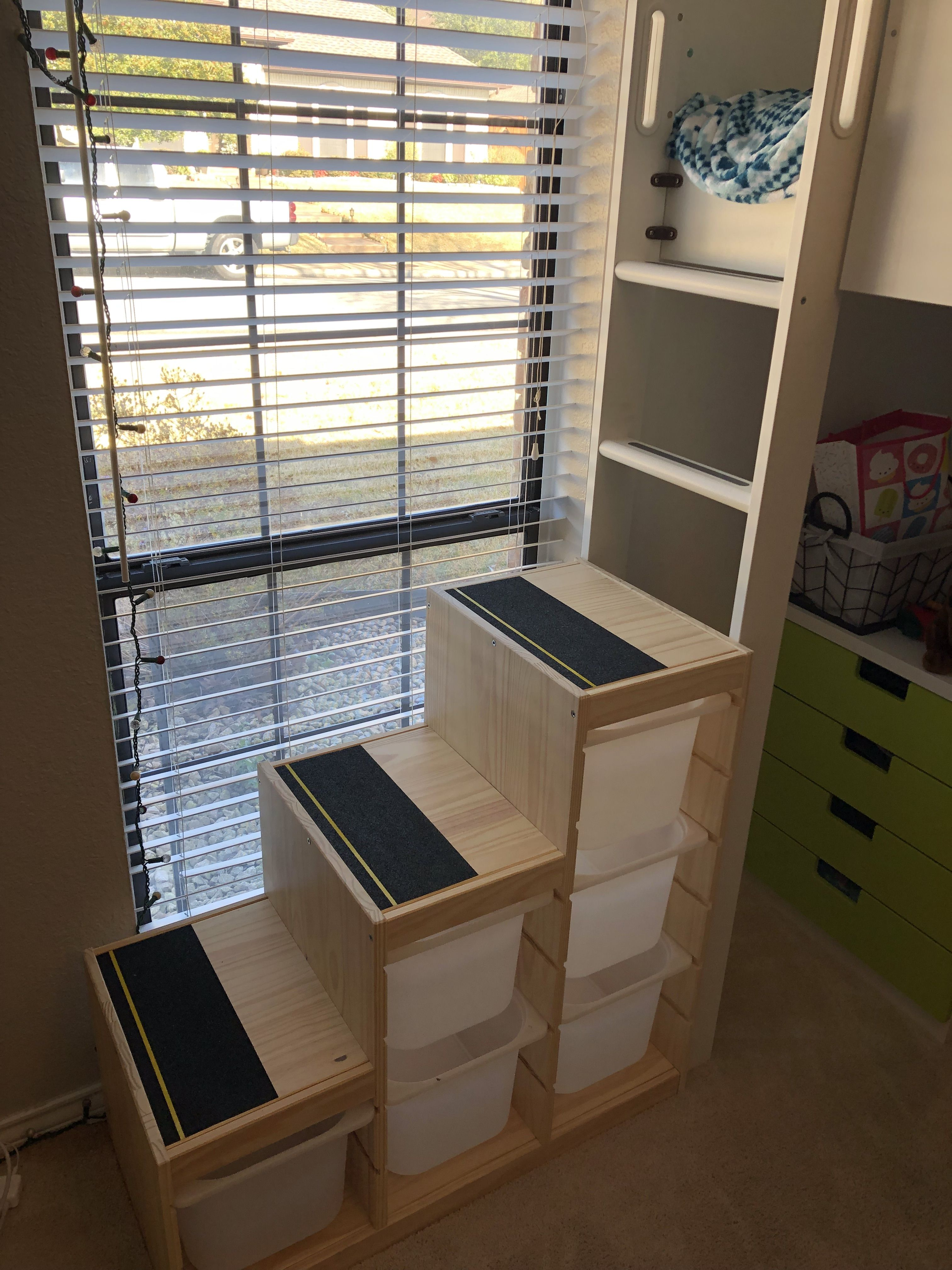 Ikea Hack Trofast Cubes For Loft Bed Staircase With Added Adhesive