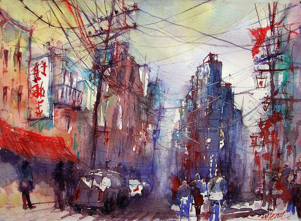 Image Result For Tokyo Watercolor Japan Watercolor Street