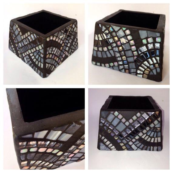 Black And White Decorative Boxes Black Silver White Decorative Box Smallhamptonmosaics On Etsy