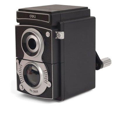 Camera Pencil Sharpener  Adjustable sharpness knob, shavings pull-out tray.  Availability: Usually ships in 2-3 business days  $16.50