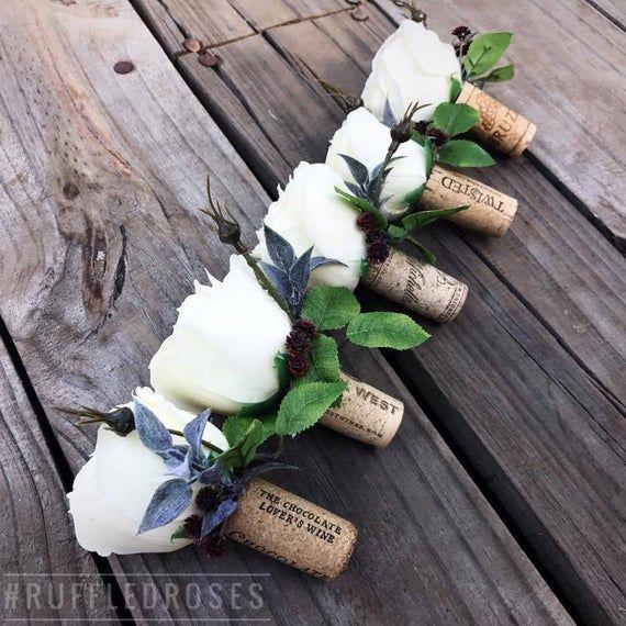 Cork Boutonniere: Wine Cork Boutonniere, Rose Boutonniere, Boutonniere