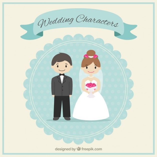 Cute Outdoor Wedding Ideas: Cute Wedding Characters Free Vector