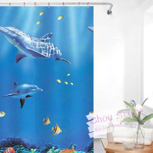 Bathroom Shower Curtain With Cute Dolphin Dreamy Ocean Pattern E11