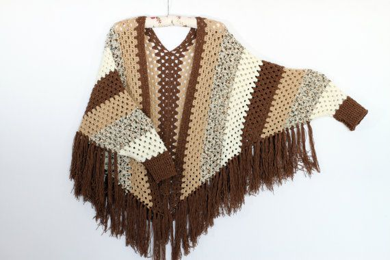 Crochet Poncho Sleeved Poncho Poncho Cape Shawl Poncho Women 39 S Pullover Sweater Fr Patrones De Poncho De Ganchillo Crochet Ponchos Patrón Para Poncho