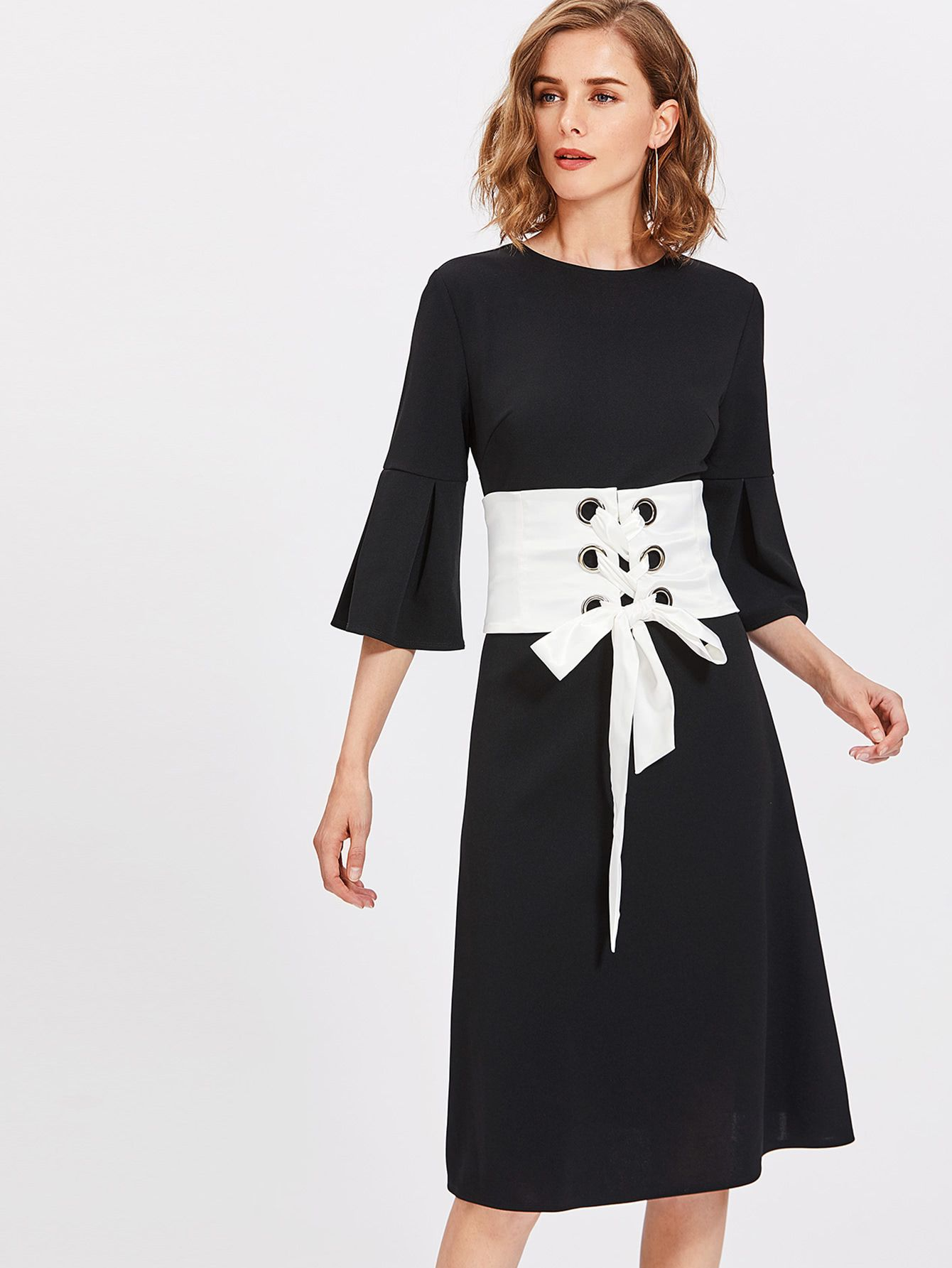 Buy it now pleated fluted sleeve dress with corset belt black