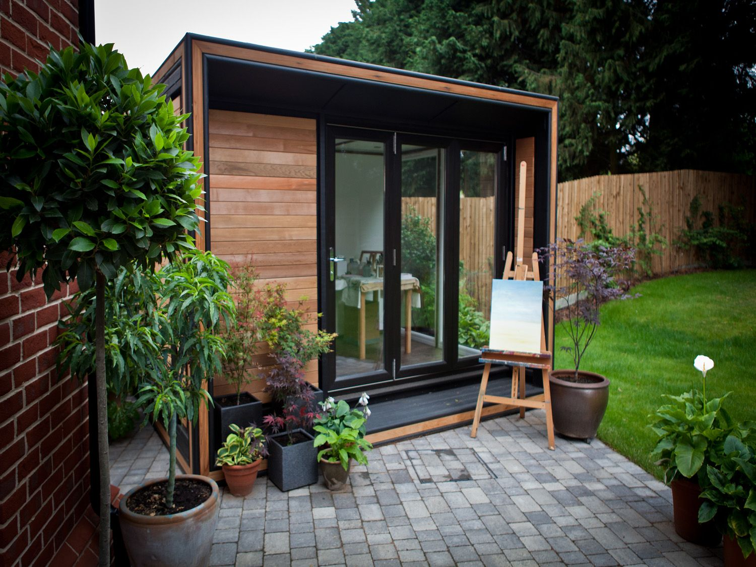 Garden Office. Like The Canopy Over Bifold Doors And Small Terrace Under  Them So Bifolds