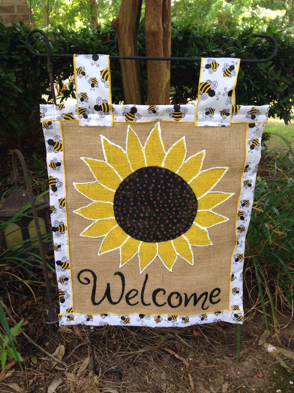 Sunflower Burlap Garden Flag
