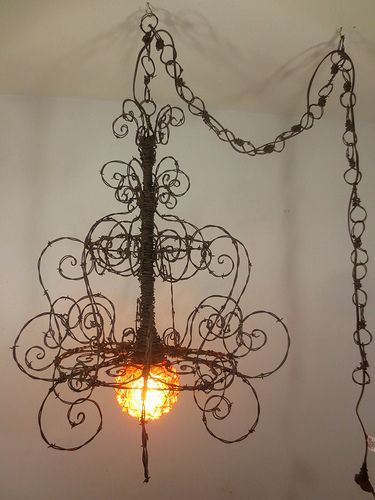 The elusive free range wiry spider living room pinterest barbed wire spiriallian chandelier ohmygoodness i am in love with this aloadofball Image collections