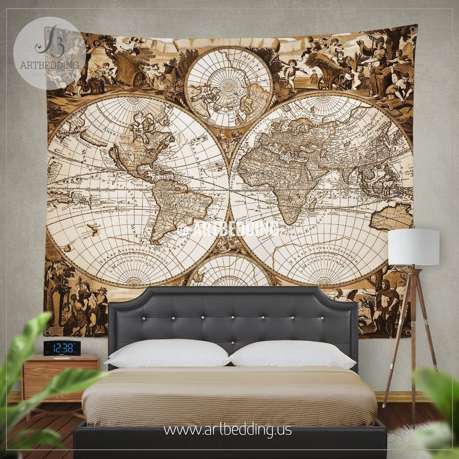 Antique world map wall tapestry ancient world map wall hanging antique world map wall tapestry ancient world map wall hanging vintage old map wall decor steampunk wall art print gumiabroncs Image collections