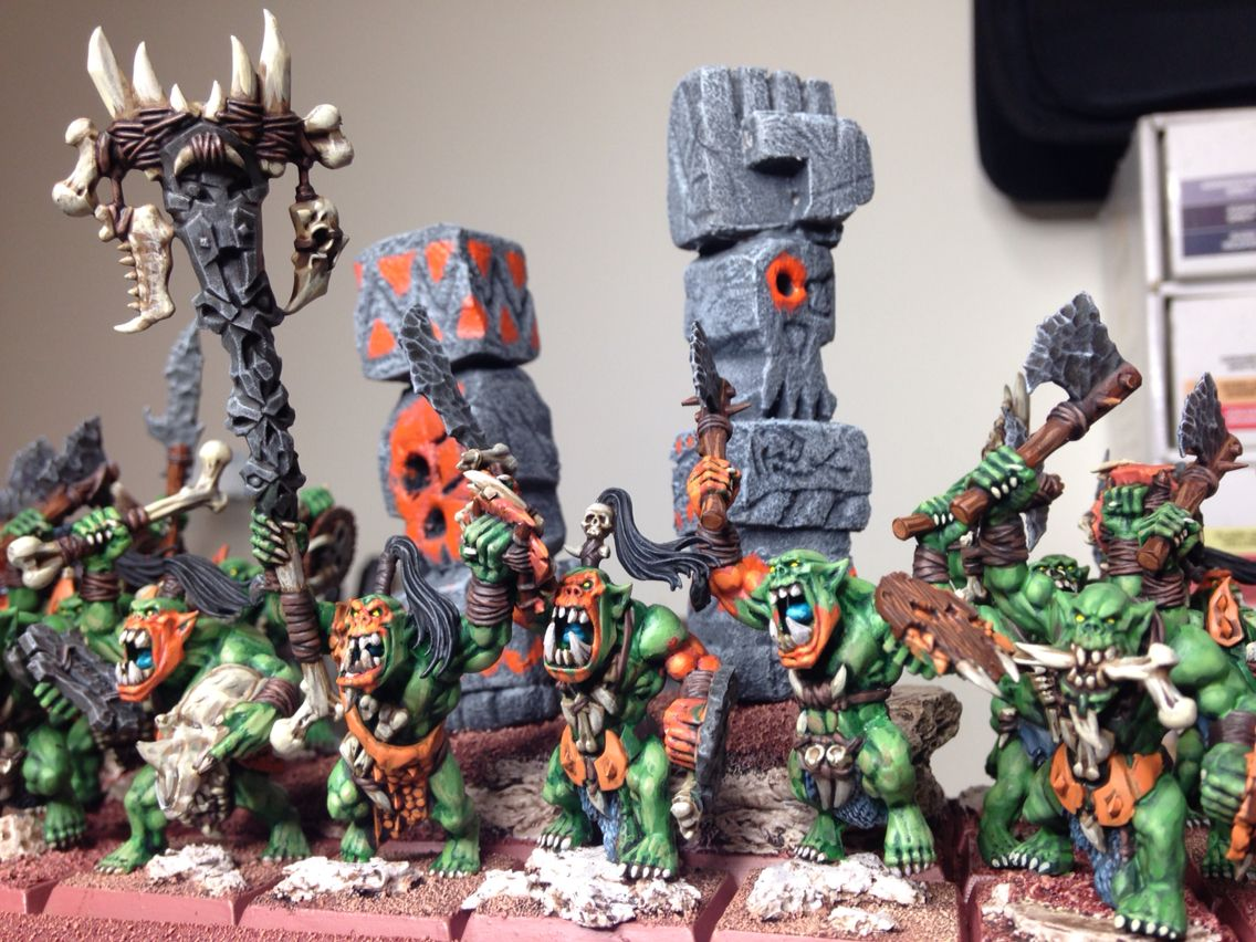 Warhammer Savage Orc Horde Painted By Rich Goss Orcos Goblins Fantasia Warhammer