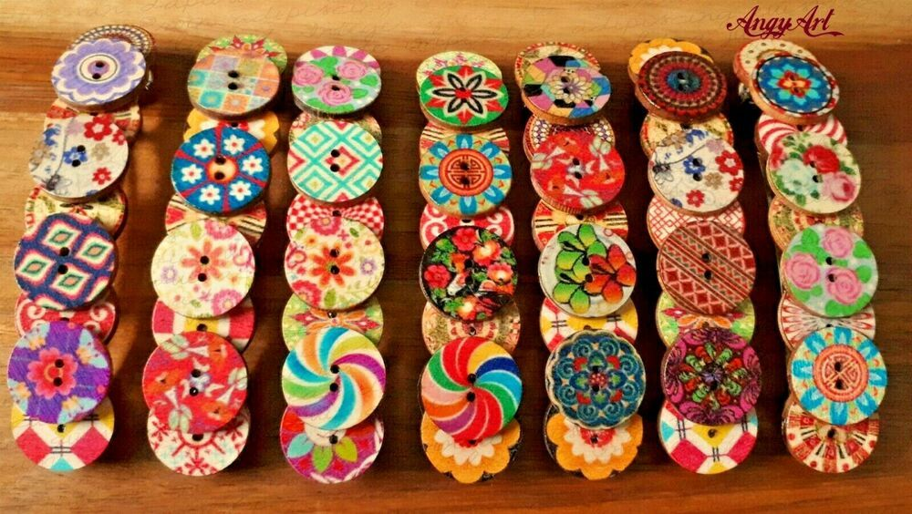 Colorful Large French barrette hair clip vintage boho rustic wooden accessory
