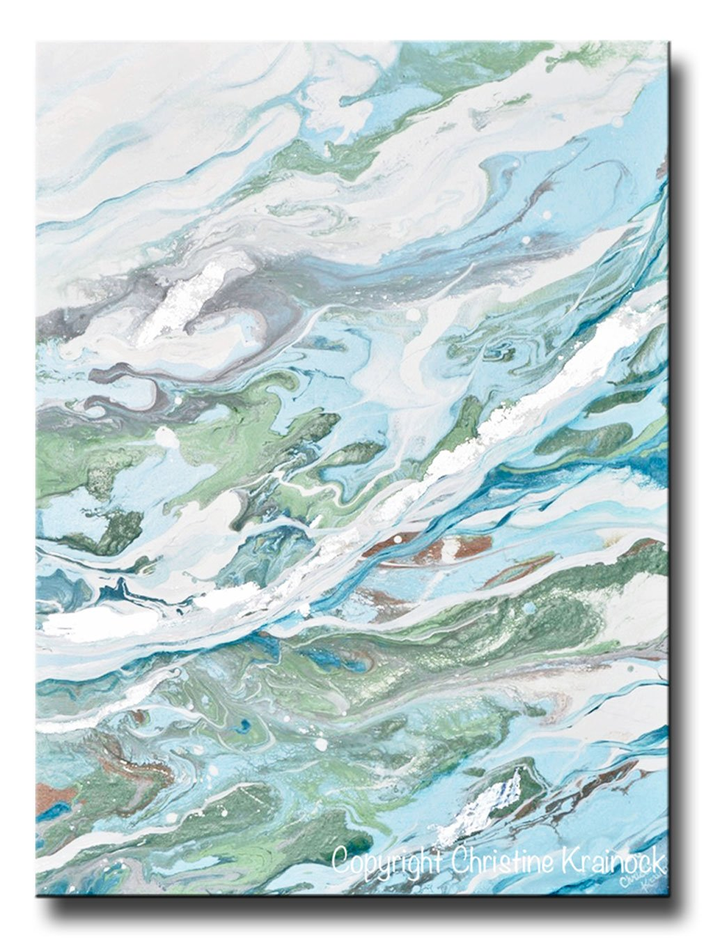 Original art light blue green abstract painting silver leaf marbled