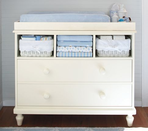 Love the cottage-style dresser with open top drawer for baskets ...