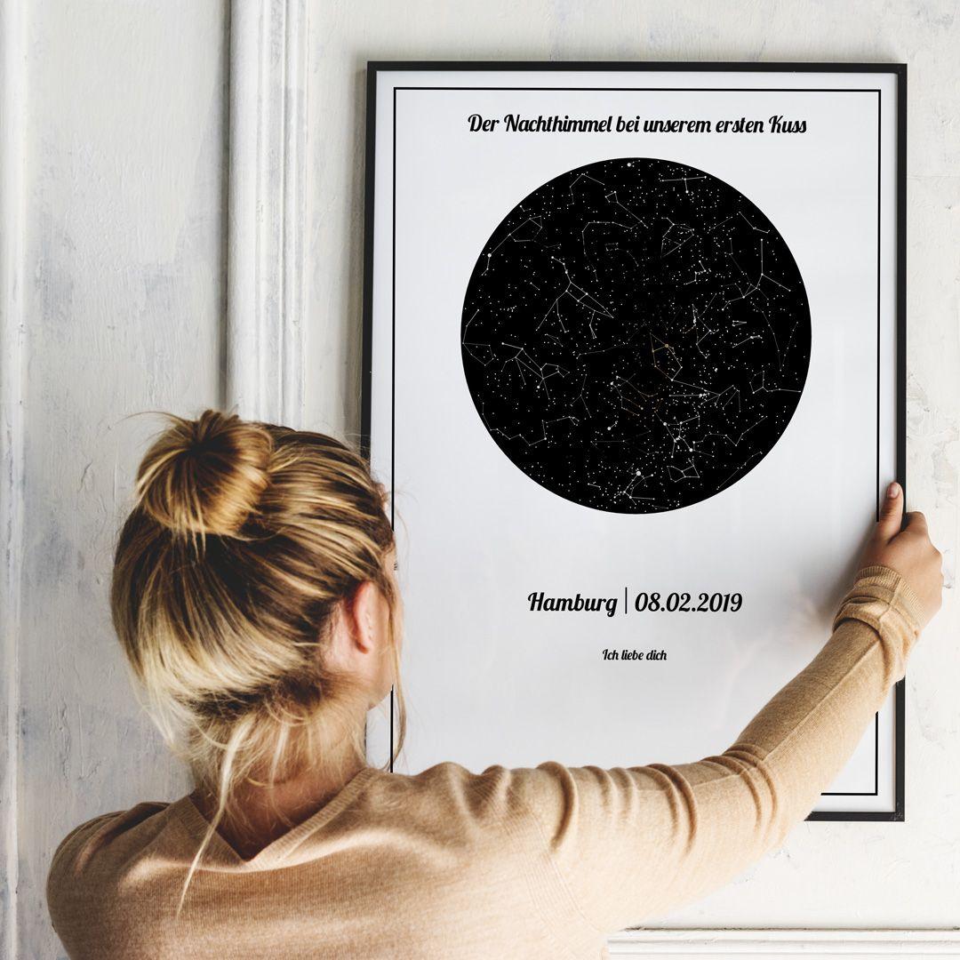Poster mit Sternenhimmel vom ersten Kuss   Nachthimmel, Jahrestag ...