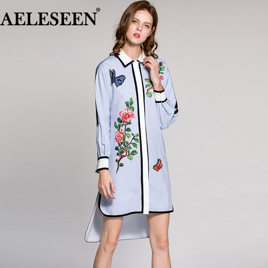 Print shirt dress summer runway designer dress long sleeve turn down