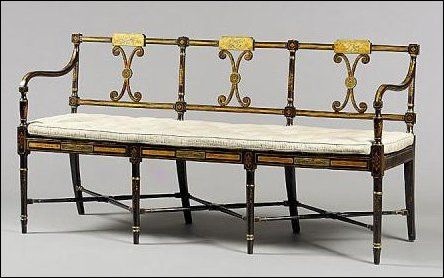 English Antiques :: George III painted and gilt triple chairback settee :: Chappell & McCullar
