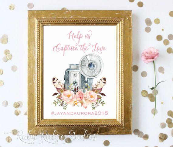 Wedding Hairstyle Hashtags: Printable Wedding Hashtag Sign Social Media By