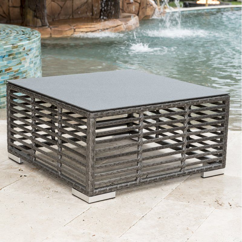 Graphite Glass Coffee Table With Images Wicker Coffee Table