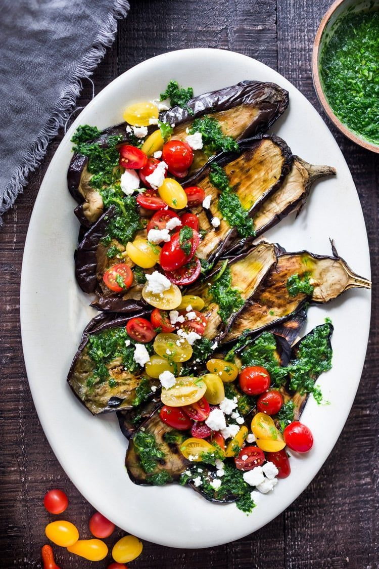Photo of Grilled Eggplant Steaks with Gremolata and Tomatoes