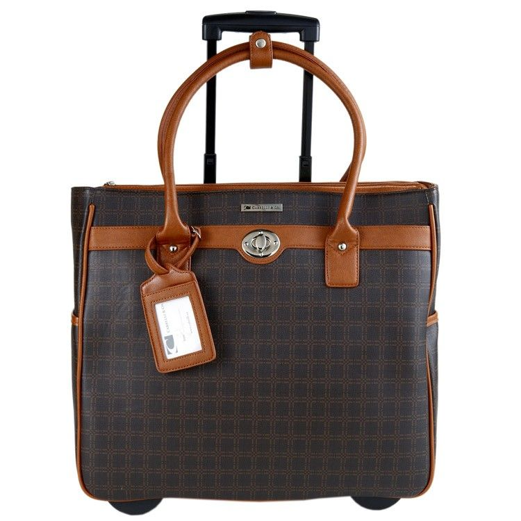 b5e93c761a Cabrelli Brown Squared Rolling Briefcase for work. Got it.