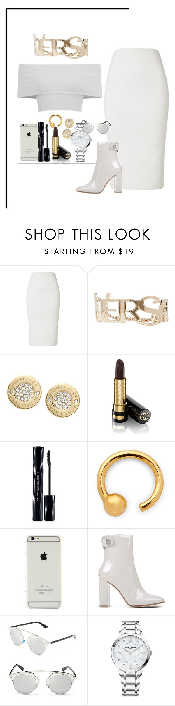 """""""Love birds chirping at thewindow but I don't need love no more"""" by jessionfleekdafuq ❤ liked on Polyvore featuring Versace, Michael Kors, Gucci, Shiseido, Gianvito Rossi, Christian Dior, Baume & Mercier and versace"""
