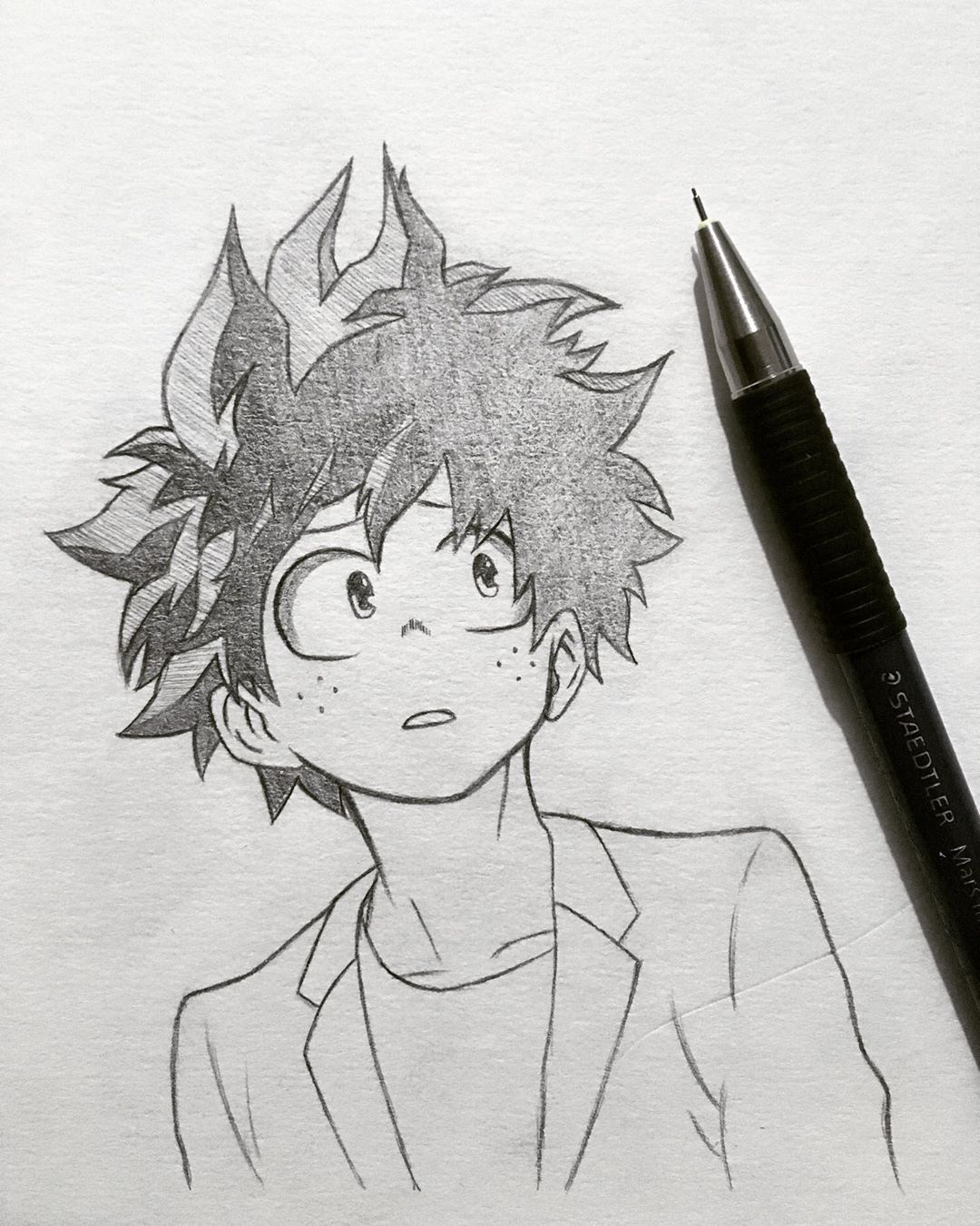 Hi Everyone Today I Bring You A Quick Sketch Of Deku Who Has My Expression To See That My Li Anime Character Drawing Anime Drawings Sketches Anime Boy Sketch