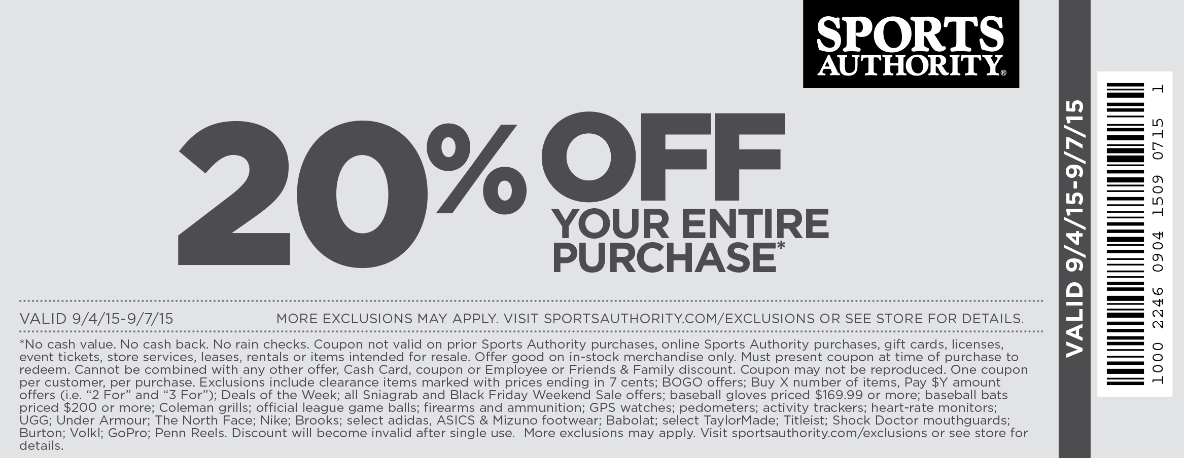 photo about Sports Authoirty Printable Coupon referred to as Pinned September 6th: 20% off the tab at #SportsAuthority
