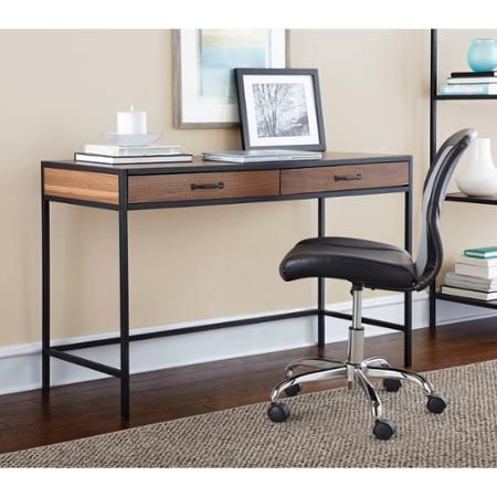 Mainstays Metro Desk With 2 Drawers Multiple Finishes Walmart Com Home Office Table Desk Home Office Furniture