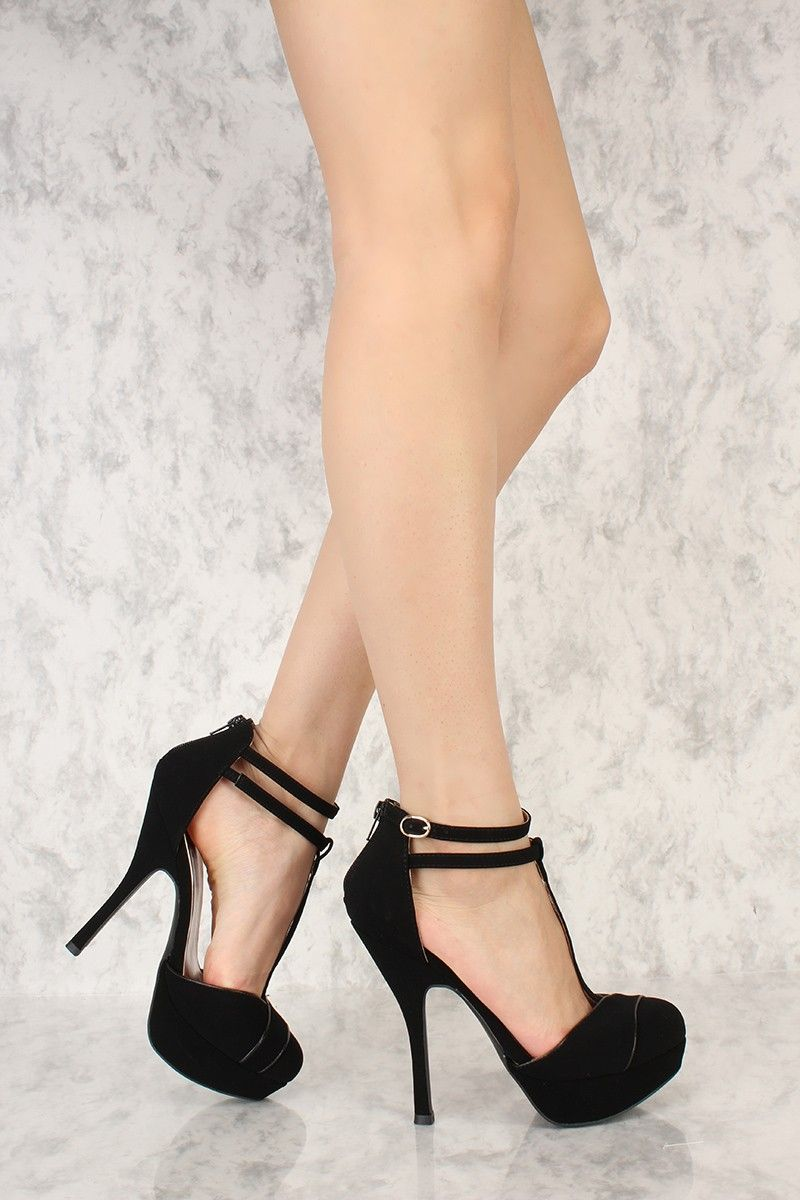 fc4ac0fdf153 Black T-Strap Closed Toe Platform High Heels Nubuck Faux Leather ...