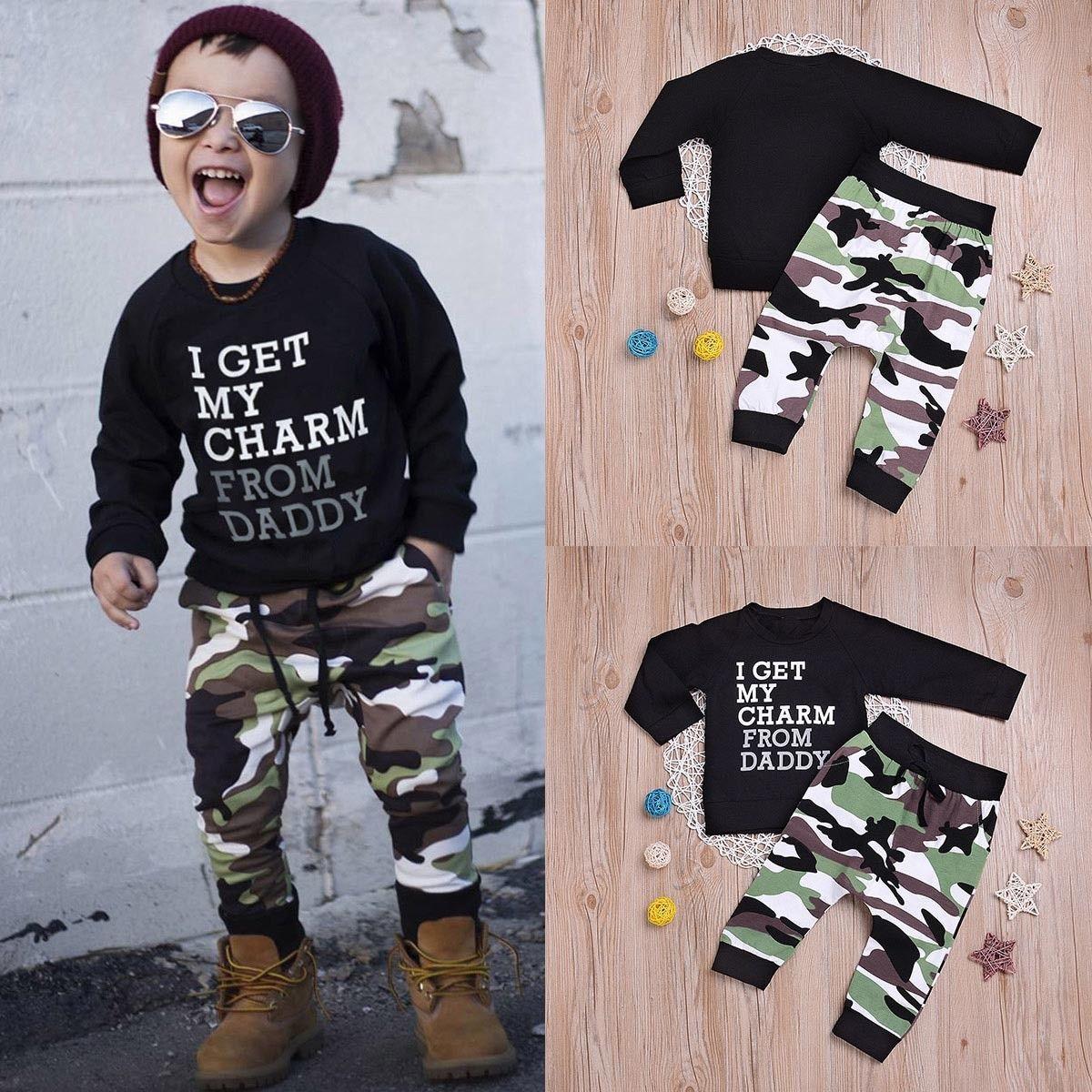 2pcs Newborn Baby Boy Camouflage Outfit T-shirt+Pants Leggings Kids Clothes Set