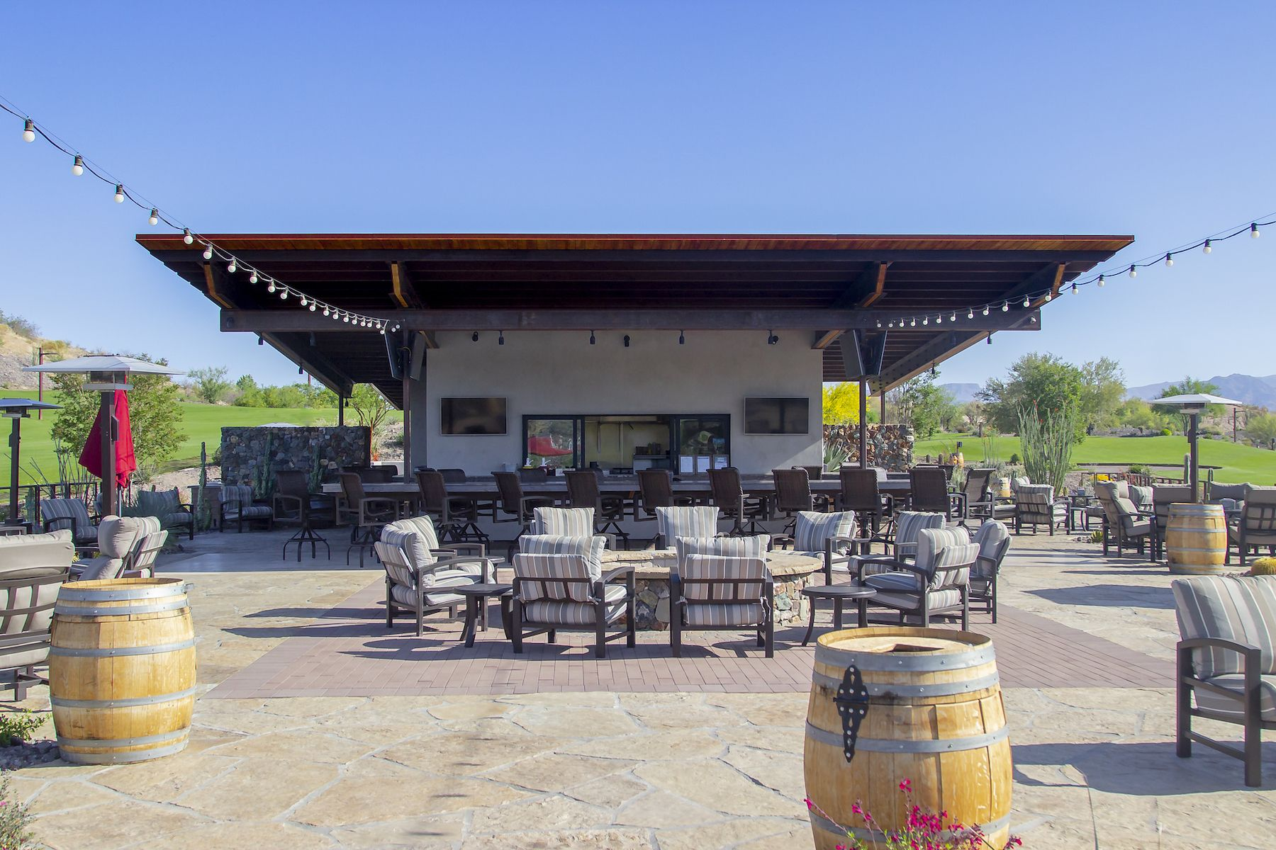 The Watering Hole At Wickenburg Ranch Golf Social Club As The Lounge For The Surrounding Space The Wa Wood Fire Pit Commercial Architecture Outdoor Living