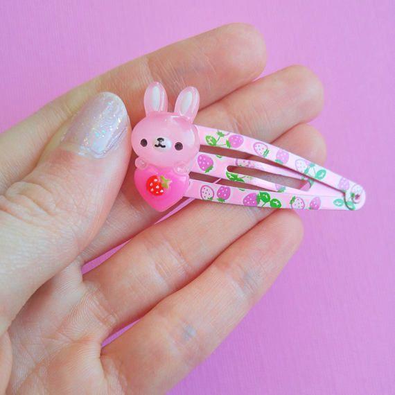 Pink Bunny Hair Clip Cute Rabbit Hair Clips Easter Hair Clip Cute Spring Hair Clips Kawaii Fairy Kei Hair Clips Girl Clips Great Gifts For Girlfriend Kawaii Accessories Handmade Hair Accessories