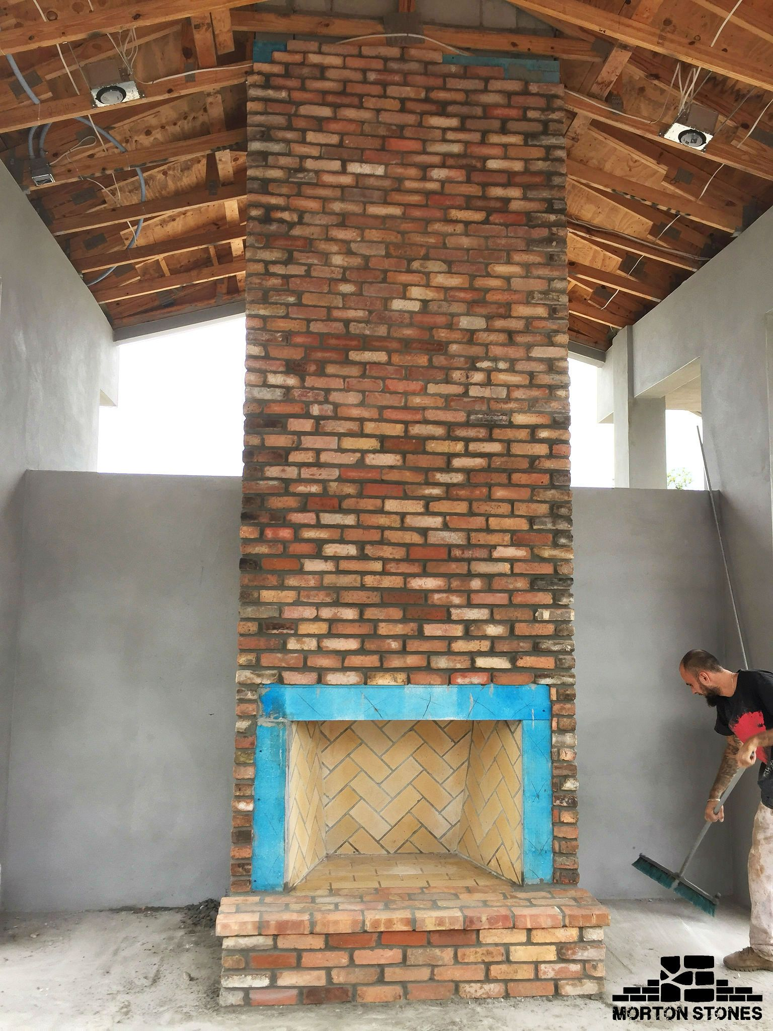 A Truly Amazing Masonry Fireplace #Mortonstones #Brick #Tiles #Rustic #Thinbrick