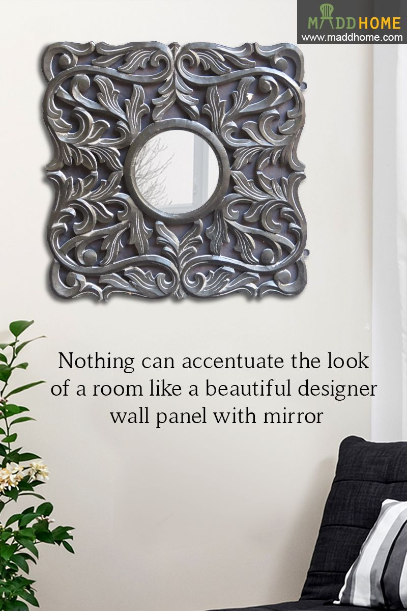 Beautiful designer wall panel with mirror. #MaddHome #HomeDecor #DecorativeMirror Shop Now:- https://www.maddhome.com/decorative-mirrors/crotone-wooden-handicraft-mirror-frame.html