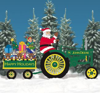 Deere Santa 2 Tractor And Wagon Pattern Set Christmas