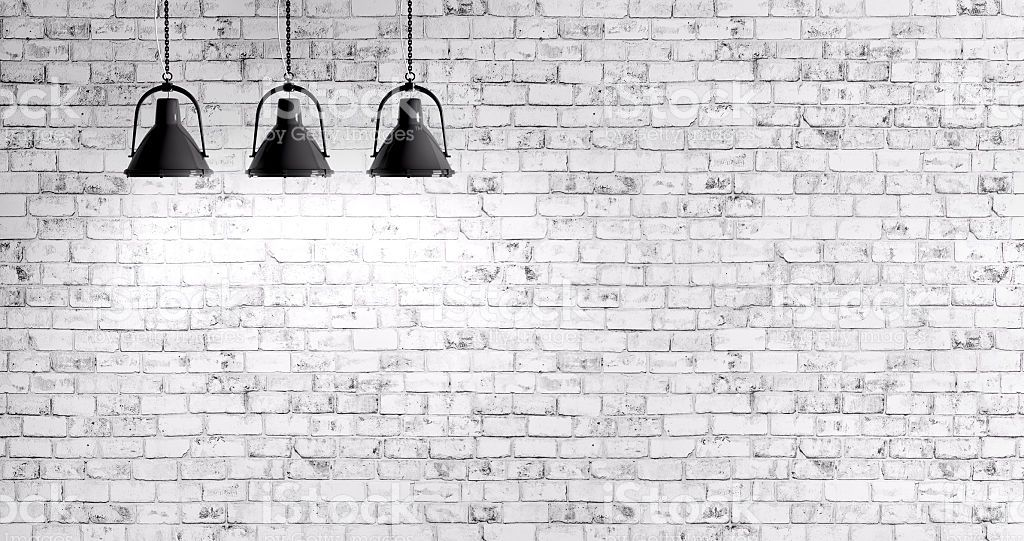 White Brick Wall With Three Lamps Background Brick Wall Brick Wall Wallpaper Brick