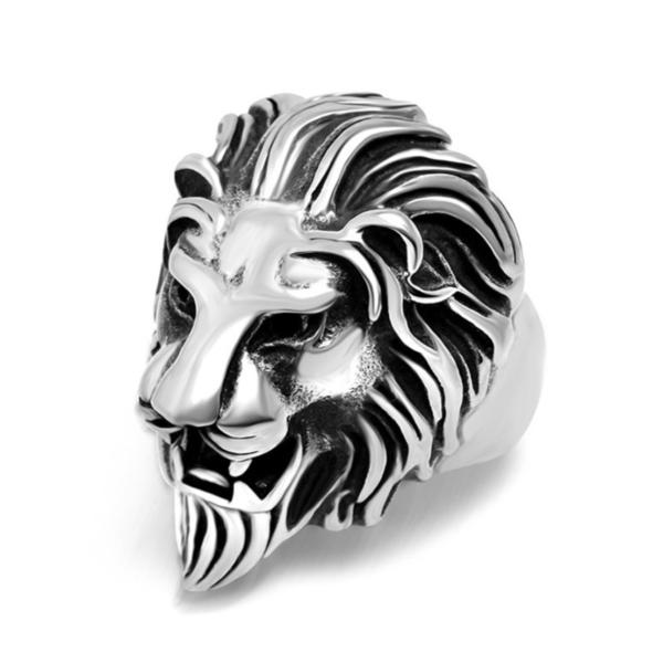 3d anillo de acero inoxidable león Lion Biker Gothic punk trendy