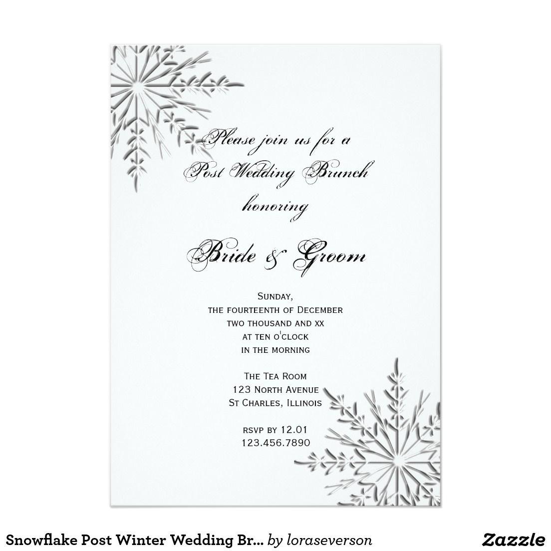 Snowflake Post Winter Wedding Brunch Invitation | Silver Wedding ...