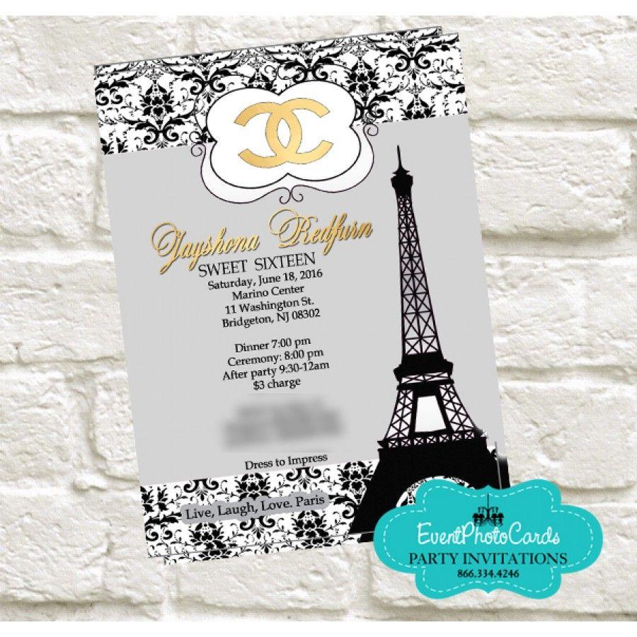 paris chanel quinceanera invites silver gold edition - Quinceanera Invites