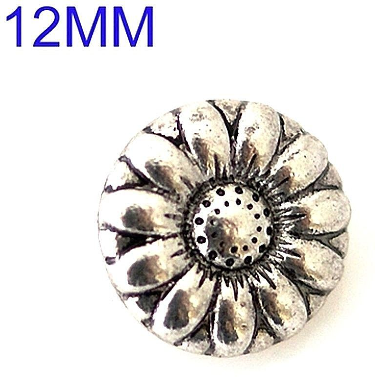 Silver Flower 12mm Mini Petite Snap Charm For Ginger Snaps Jewelry #Handmade #Interchangeable