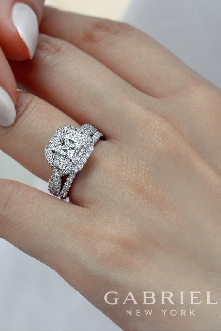 Gabriel k white gold princess cut double halo engagement ring