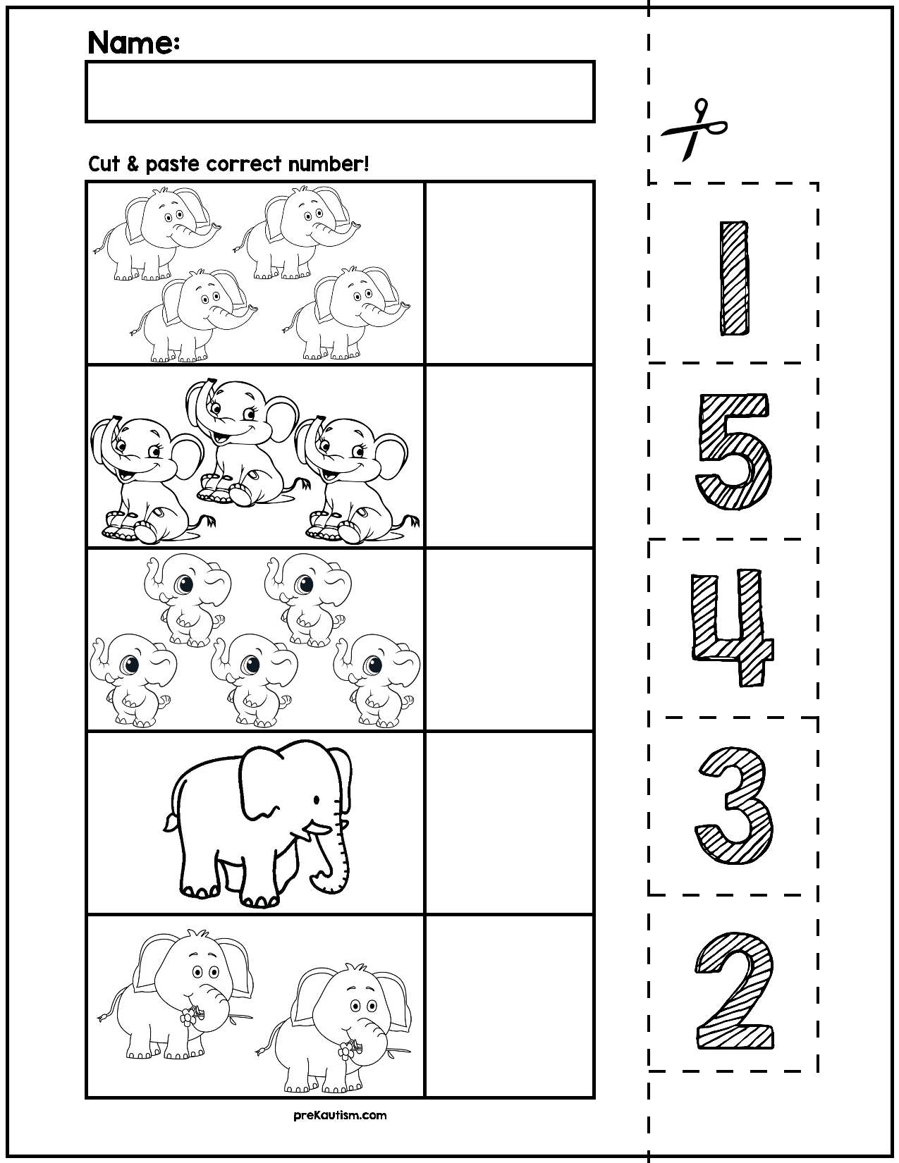 Elephant Cut Amp Match Worksheets