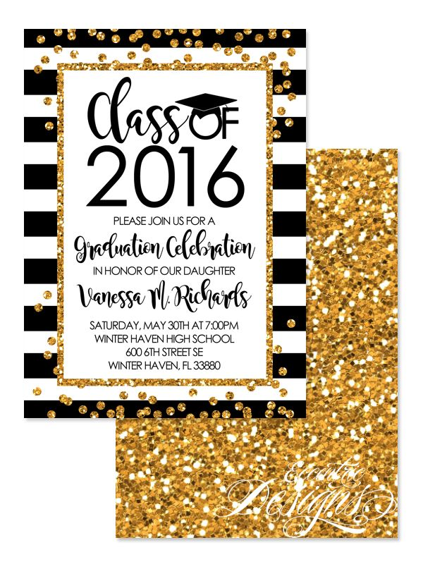 Faux Glitter Gold Confetti Graduation Invitation  Digital