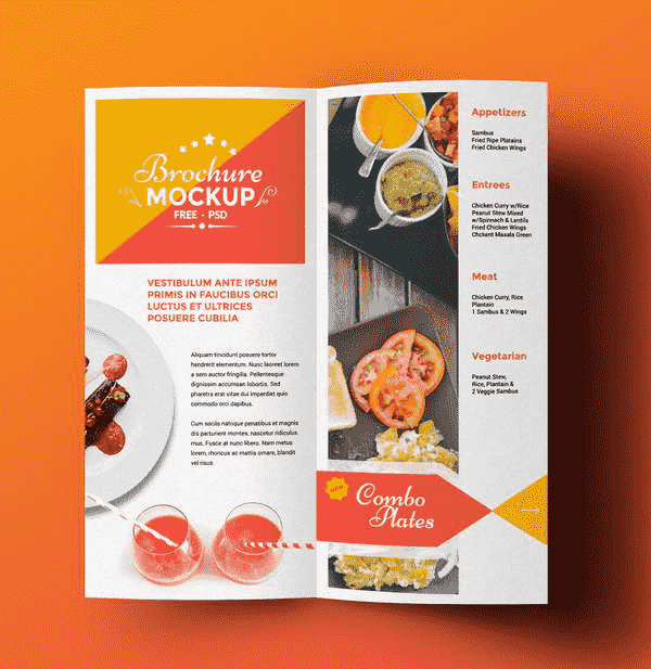 Free  Fold Food Brochure Mockup  Design Ispiration