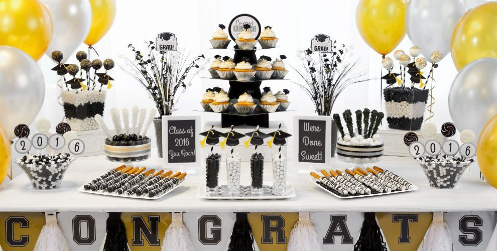 Black And Gold Graduation Decorating Ideas Black Gold Silver Graduation Party Sup Graduation Party Desserts Graduation Party Decor Graduation Party Treats