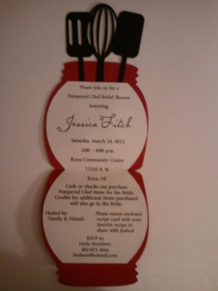Pampered Chef Invitations Pampered Chef Bridal Shower