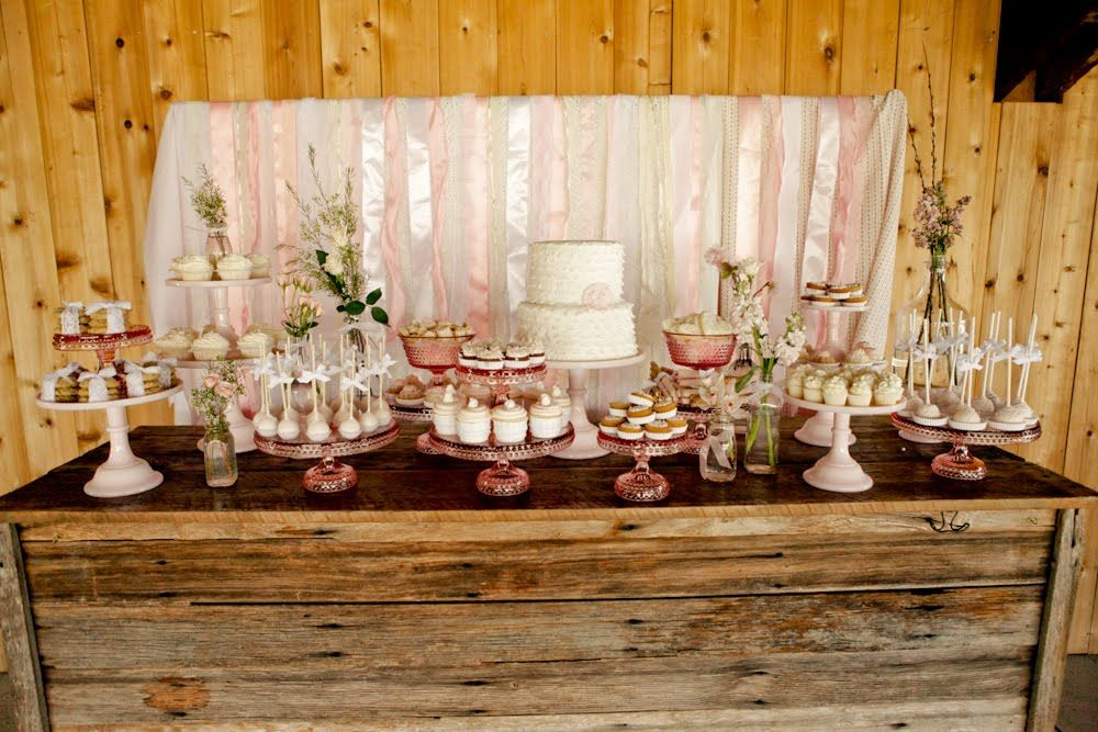 fall bridal shower table settings vintage pink shabby chic dessert table